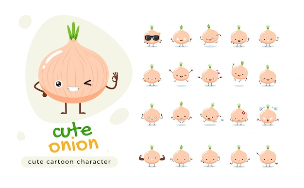 A mascot set of the onion. isolated   illustration