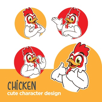 Mascot or sticker character chicken designs