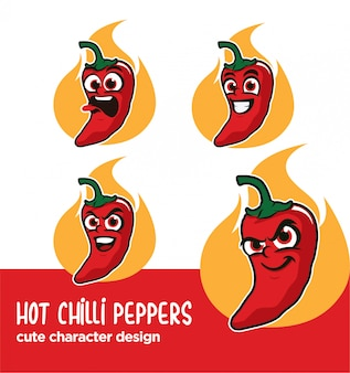 Mascot or sticker hot chilli peppers designs