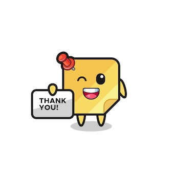 The mascot of the sticky notes holding a banner that says thank you , cute style design for t shirt, sticker, logo element