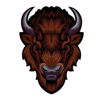 Mascot. vector head of buffalo isolated