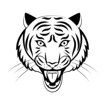 마스코트. 호랑이의 벡터 머리입니다. 흰색 배경에 고립 된 위험 야생 고양이의 검은 그림.