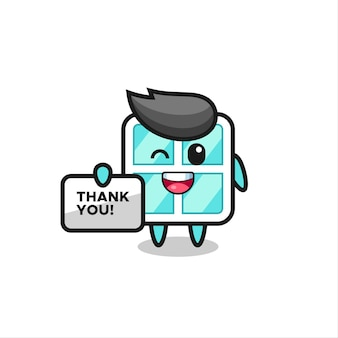 The mascot of the window holding a banner that says thank you , cute style design for t shirt, sticker, logo element