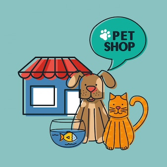 Mascots with pets shop