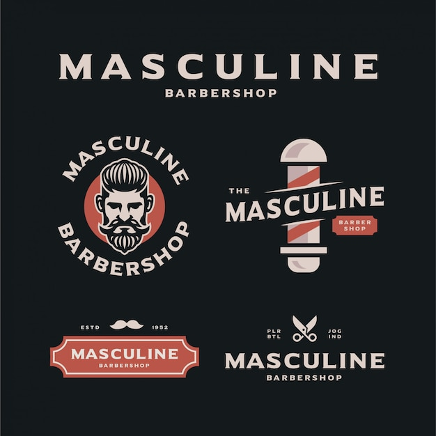Masculine barbershop logo template collection