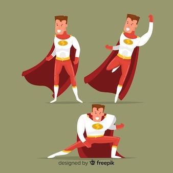 Masculine cartoon superhero set