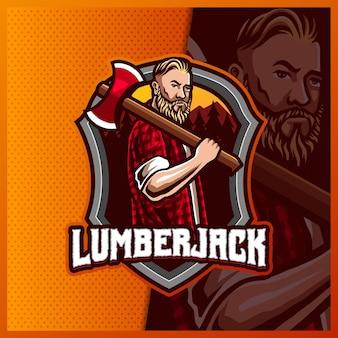 남성 lumberjack 마스코트 esport 로고 디자인 일러스트 템플릿, axe 로고가있는 angry lumberjack