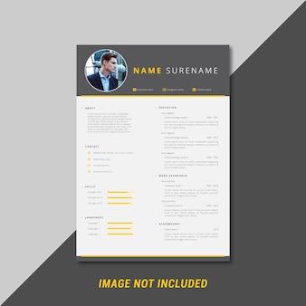 Masculine and professional curriculum vitae template design