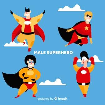 漫画スタイルの男性的なスーパーヒーローコレクション