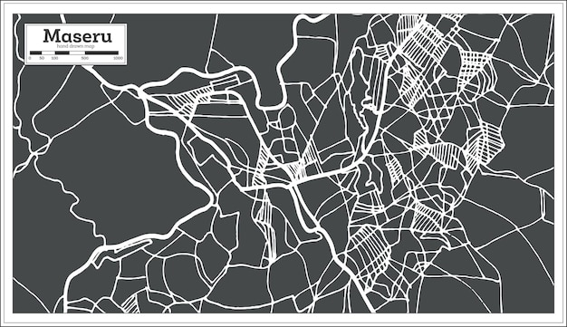 복고 스타일의 마세루 레소토 도시 지도. 개요 지도. 벡터 일러스트 레이 션.