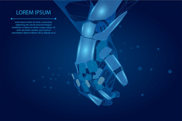 マッシュラインとポイント、多角形の手がデジタルグローバルフォームに触れます。