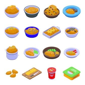 으깬 감자 아이콘을 설정합니다. 흰색 배경에 고립 된 웹 디자인을 위한 으깬 감자 아이콘의 아이소메트릭 세트 프리미엄 벡터
