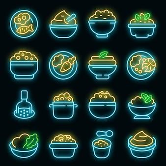 Mashed potatoes icons set vector neon