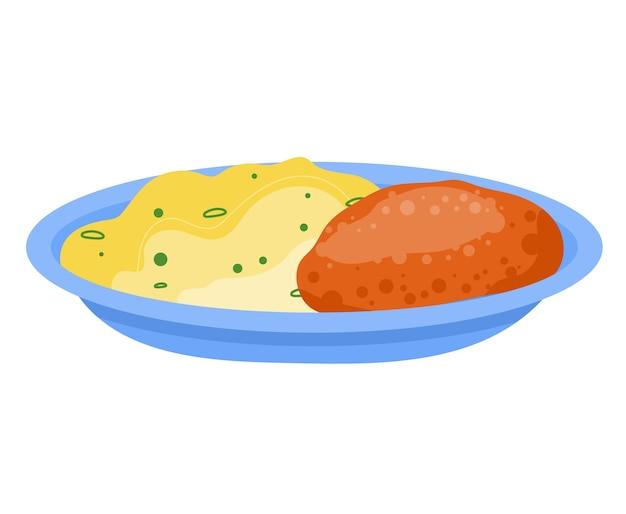 マッシュポテト、ミートカツ、肉料理メニュー、メインの食事、白、デザイン、フラットスタイルのイラストで隔離される料理食品。美味しい豆、伝統的な伝統的なディナー、柔らかい煮込み牛肉。