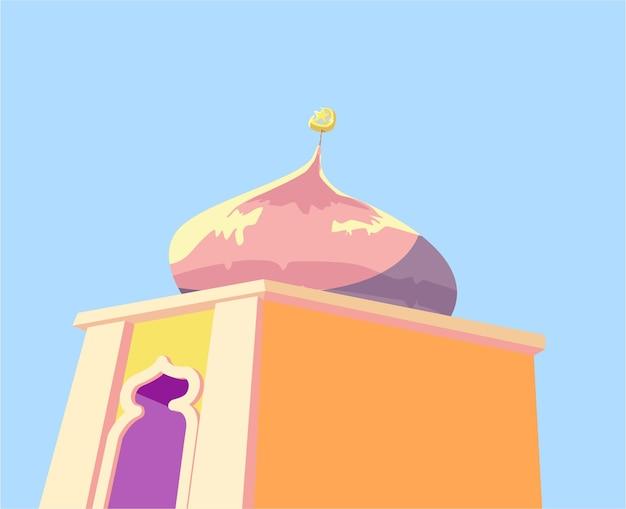 성원 만화 스타일입니다. 이슬람 벡터 일러스트 레이 션기도를위한 모스크 집