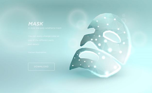 Mask for the face, polygonal wireframe