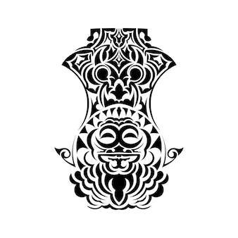 マスクフェイスタトゥーオーナメントマオリスタイル。アフリカの儀式の伝統的なマスク。ティキモコ。トーテムデザイン。