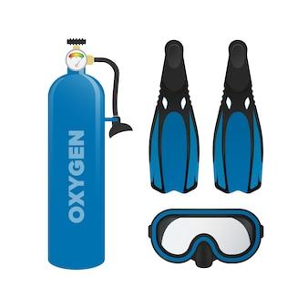마스크, 지느러미 및 산소 탱크. 수영 세트. 수영 공기 실린더.