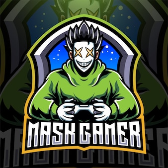 Mask gamer esport mascot logo design