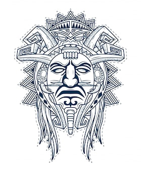Mask of the gods of the people aztec