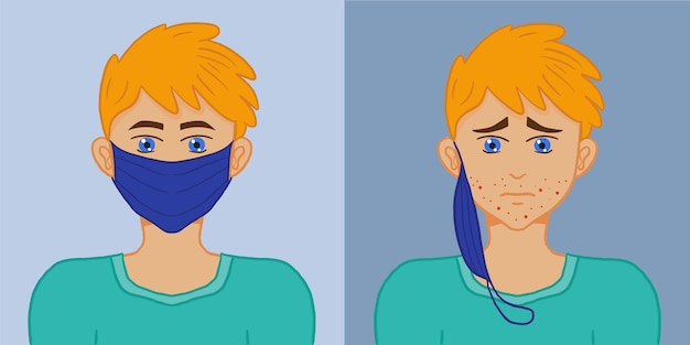 Mask on and off illustration