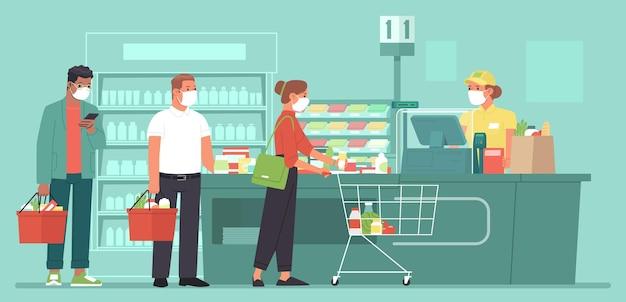 Люди в масках выстраиваются в очередь у кассы супермаркета. коронавирус. векторная иллюстрация в плоском стиле