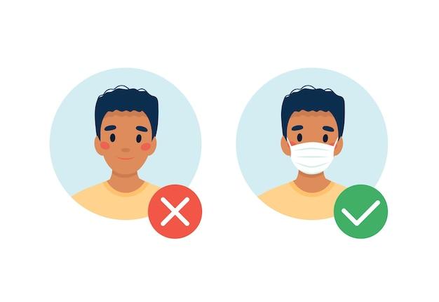 마스크가 필요합니다. 마스크를 착용하지 않고 입장 할 수 없습니다. 의료 마스크가 있거나없는 남자.