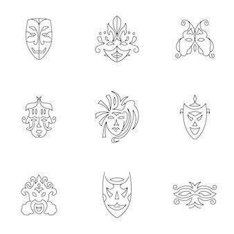 마스크 벡터 집합입니다. 간단한 마스크 모양 그림, 편집 가능한 요소는 로고 디자인에 사용할 수 있습니다.
