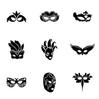 마스크 벡터입니다. 로고 디자인에 간단한 마스크 그림, 편집 가능한 요소를 사용할 수 있습니다.