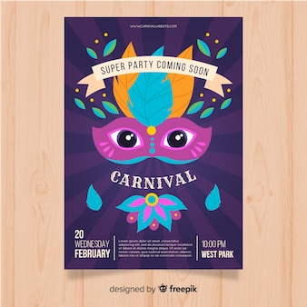 Mask with eyes brazilian carnival party poster