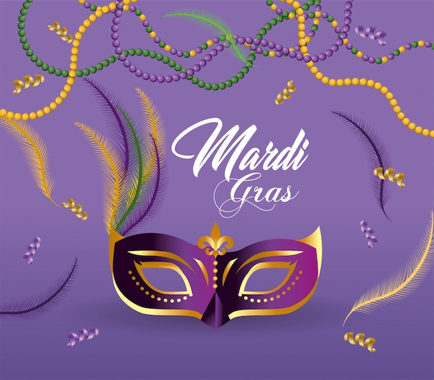 Mask with feathers and necklace to celebrate merdi gras