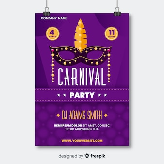 Mask with golden pearls carnival party poster
