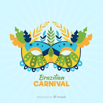 Mask with leaves brazilian carnival background