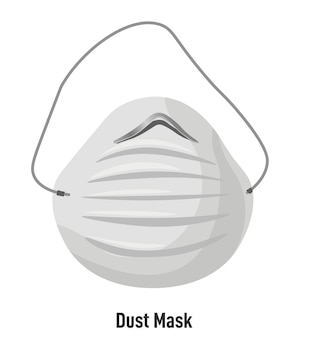Маска с ремнями и фильтром, защита от пыли и смога. изолированный объект для личного пользования в городе или работы. безопасное дыхание, респираторные заболевания и аллергия. защитные меры, вектор в плоском стиле