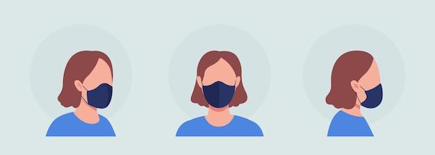 넥타이 착용자 세미 플랫 컬러 벡터 캐릭터 아바타 세트가 있는 마스크. 전면 및 측면 보기에서 인공 호흡기와 초상화입니다. 그래픽 디자인 및 애니메이션 팩을 위한 격리된 현대 만화 스타일 그림
