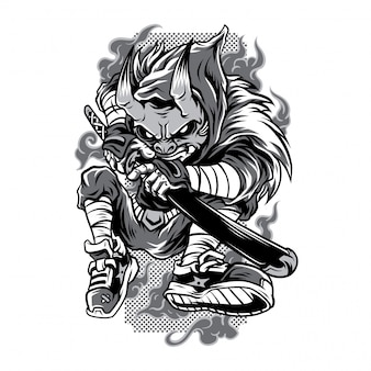 Masked hunter black and white illustration