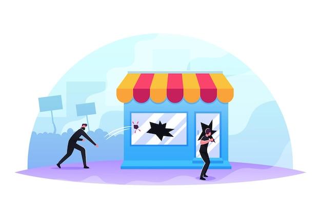상점 쇼케이스를 깨는 가면 약탈자, 공격적인 가면을 쓴 남성 캐릭터 약탈, 손상 장비, 상점 창에 돌 던지기