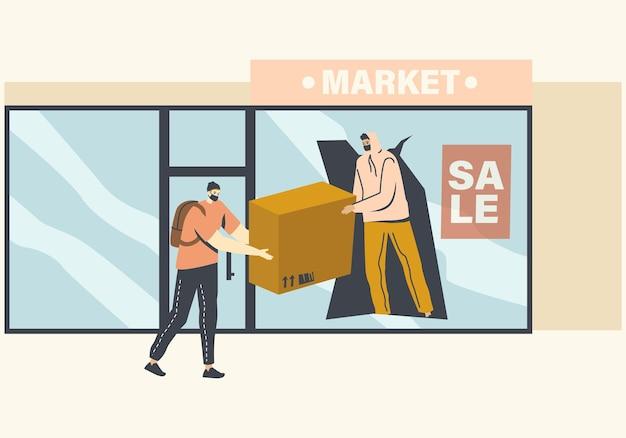 壊れた店のショーケースを通して商品を盗む仮面の略奪者