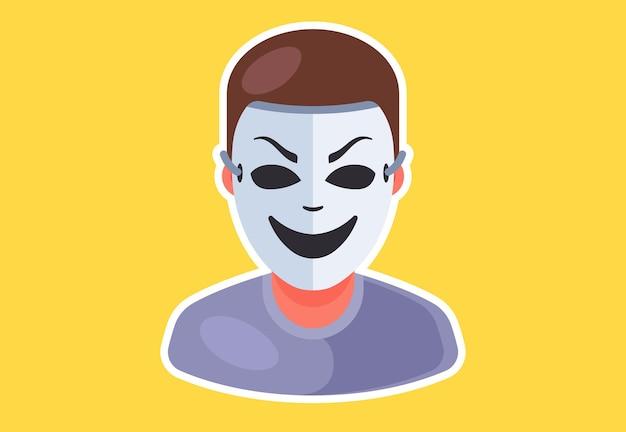 Значок в маске человек. оторвать человека. плоский характер векторные иллюстрации.