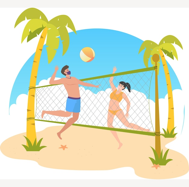 Masked man and woman are playing volley together at the beach during holiday illustration