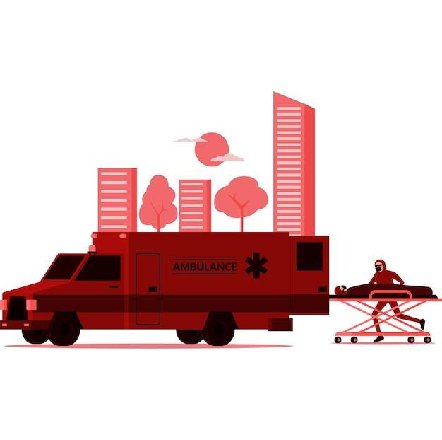 マスクされた医療スタッフが救急車のイラストに患者を迎えに行く