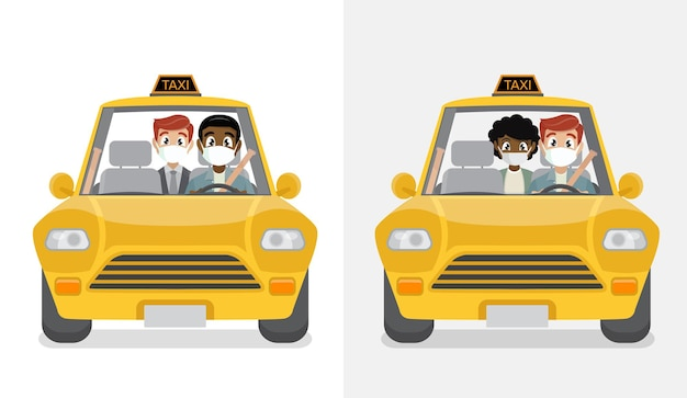 Masked passenger in taxi with masked driver.