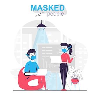 Люди в масках изолированные сотрудники концепции мультфильма в масках работают в офисе