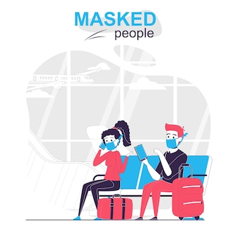 Люди в масках изолировали мультяшную концепцию путешественников в масках, сидящих в вестибюле аэропорта