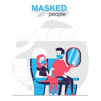Люди в масках изолировали концепцию мультфильма путешественники в масках, сидя на борту самолета