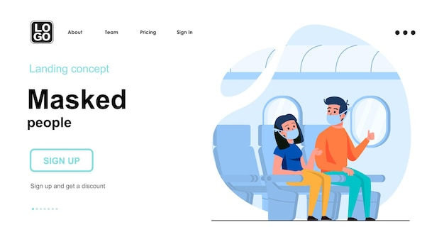 Masked people landing page template