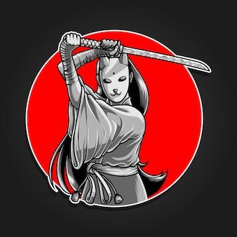 Девушка в маске самурай держит катану