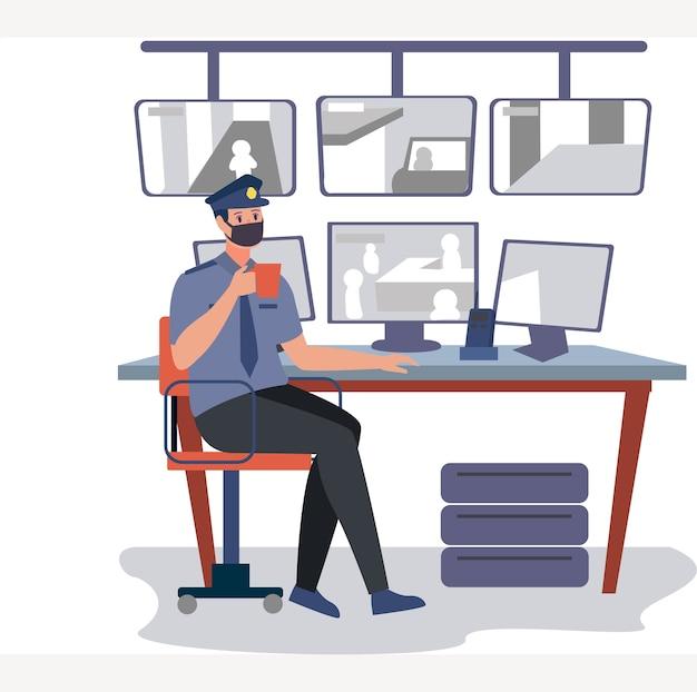 Офицер службы безопасности в маске наблюдает за камерами видеонаблюдения как его служебная обязанность
