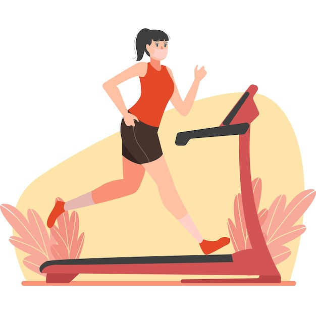 Masked woman running on treadmill for building her leg muscles