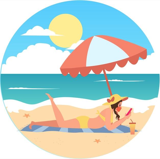 Женщина в маске загорает на пляже во время праздника иллюстрации